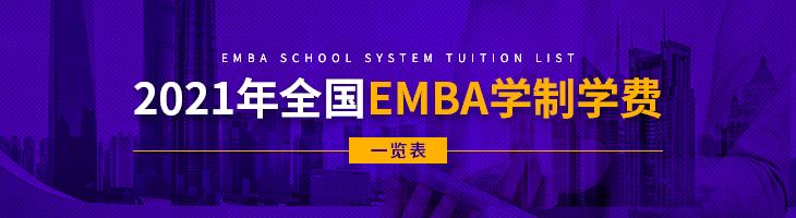 2021年全国各地区EMBA学制学费一览表